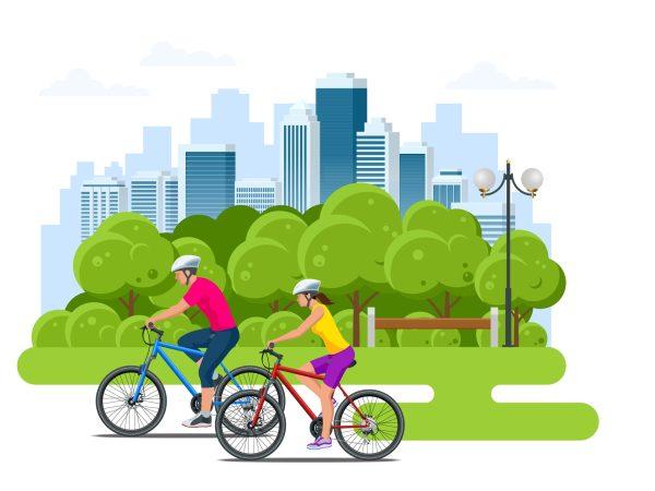 Grafik: Fahrradfahrer mit Helm fahren in einer städtischen Grünanlage
